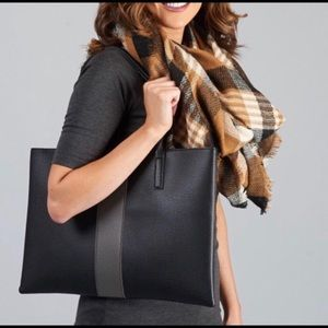 NWOT Vince Camuto Black with Gray Stripe Luck Tote